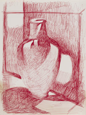 Untitled (red with vase)