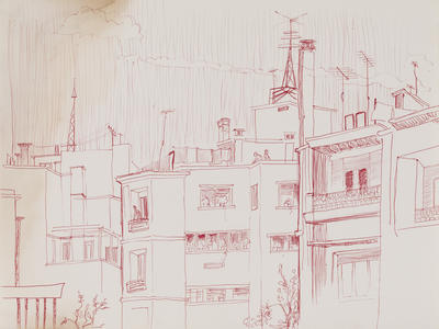 Untitled (buildings in red)