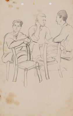 Untitled (Three male figures talking)