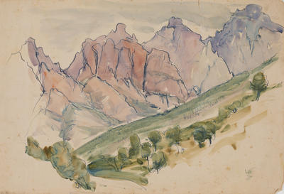Untitled (landscape with mountains)