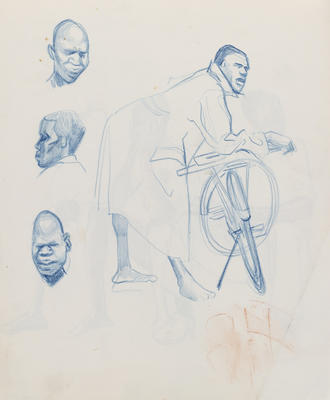 Joan Grehan; Untitled (Male leaning on bicycle and head studies); 2014/1/351