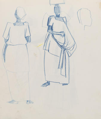 Untitled (Two female figure studies) and head outline