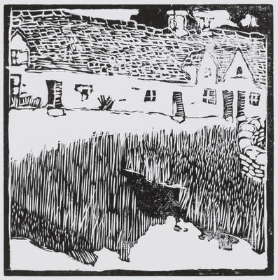 Untitled (Cottages with grass in foreground)
