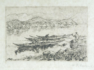 Canoes on a River