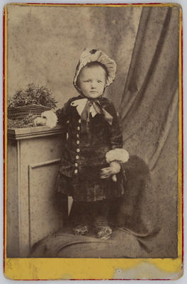 Unknown; Studio photograph of a young child (Edith Collier?); Late 1880s?; A2015/1/3