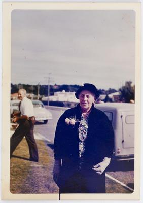 Unknown; Edith Collier outside; Circa 1957; A2015/1/17