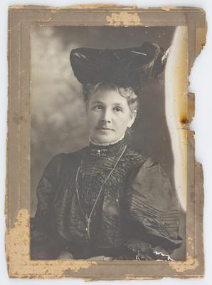 Eliza Collier wearing a hat; A2015/1/21