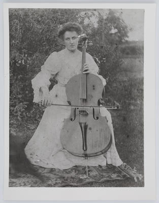 Unknown; Portrait of Edith Collier playing the cello; 1857; A2015/1/29