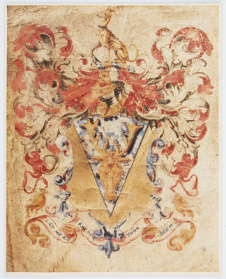 Photograph of Parkes' family crest and motto.