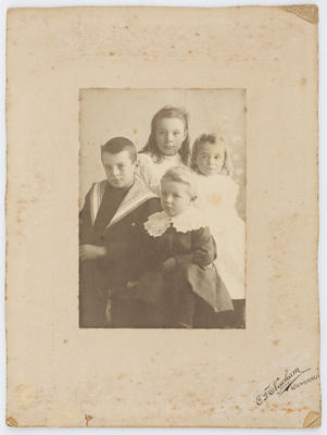 Unknown; Studio portrait of four Collier children in portrait orientation.; A2015/1/49