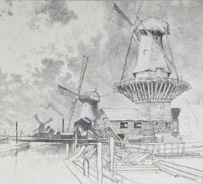 Canal Scene with Windmills