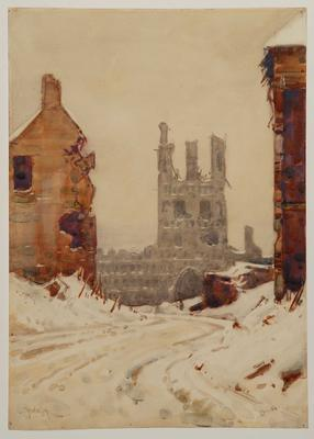 Ruins of Cloth Hall, Ypres, Belgium; Christmas 1917