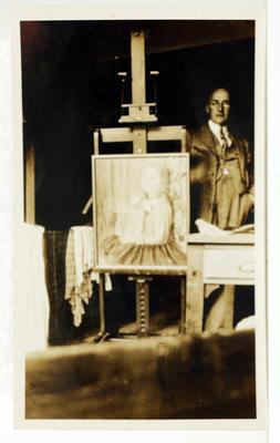 [Photograph, Vivian Smith in his studio]