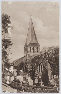 Postcard of Shere Church, from Edith Collier to her mother.