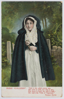 "Postcard with a hand-coloured photograph of a woman - ""Irish Colleen."""