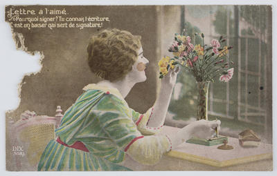 Jim; A postcard of a young woman with a vas of carnations, from cousin Jim to Edith.; 14 Nov 1918; A2015/1/81