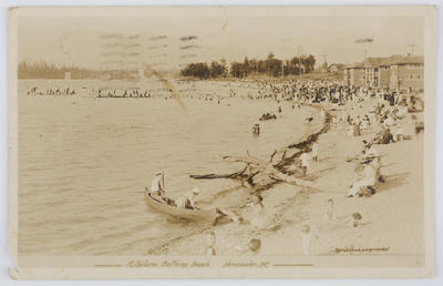 Postcard of Kitsilano Beach, Vancouver from Margaret MacPherson to Edith Collier, 1919.