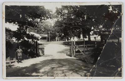 Postcard of the entrance to NZ General Hospital No. 1, Brockenhurst.
