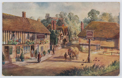 Postcard of Ightham Village, Kent from Edith Collier to Vera.