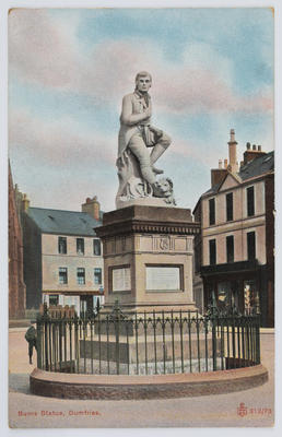 Postcard of Burns statue, Dumfries, From Edith Collier to Dolly.