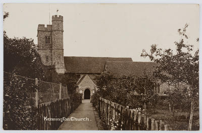 Postcard of Kennington Church, Kent from Edith Collier to her mother.