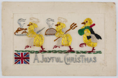 Christmas postcard embroidered with three yellow birds, to Edith Collier from Jack Russell.