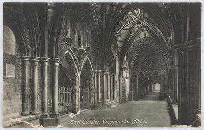 Postcard of Est Cloister Westminster Abbey from Edith Collier to Dolly.