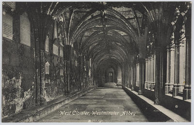 Postcard of West Cloister, Westminster Abbery from Edith Collier to Dolly.