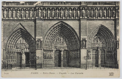 Postcard of Notre Dame, Paris from Miss Dreschfeld to Edith Collier.