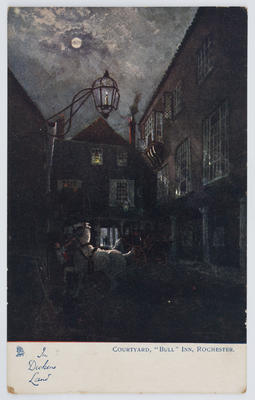 """Raphael Tuck & Sons.; Edith Collier; Postcard titled """"Courtyard, """"Bull"""" Inn, Rochester"""" from Edith Collier to Reg.; Unknown; A2015/1/120"""