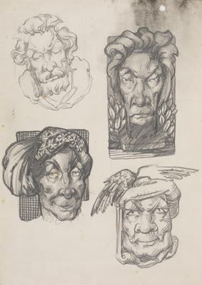 Vivian Smith; Untitled (Imaginary heads of medieval / mythological subjects); Unknown; 1988/27/51