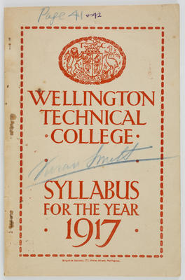 Wellington Technical College Syllabus for the Year 1917