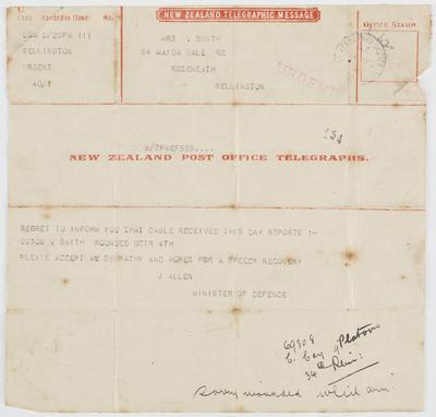 [Telegram, James Allen to Mary Smith]