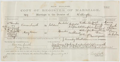 Department of Internal Affairs; [New Zealand Copy of Register of Marriage]; 17 Jan 1918; A2015/4/32