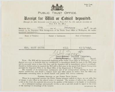 Public Trust Office; [Receipt of Will or Codicil Deposit]; 12 Feb 1946; A2015/4/33