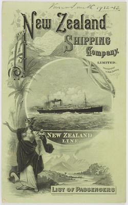 New Zealand Shipping Company Limited; Vivian Smith; [List of Passengers, RMS Turakina]; 1912-1913; A2015/4/36
