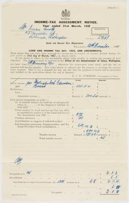 Inland Revenue Department; [Income Tax Assessment Notice, Vivian Smith]; 12 Dec 1930; A2015/4/38