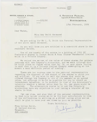 Becke, Green & Stops Solicitors; [Letter, Becke, Green & Stops Solicitors to Lilian Smith]; 17 Feb 1959; A2015/4/39