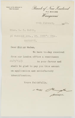 [Letter, Bank of New Zealand to Lilian Smith]