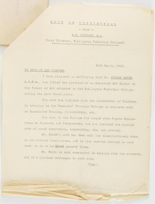 William Sanderson La Trobe; [Reference, Vivian Smith]; 11 Apr 1916; A2015/4/59
