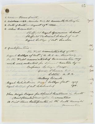 Vivian Smith; [Curriculum vitae, Vivian Smith]; 10 Dec 1920; A2015/4/60