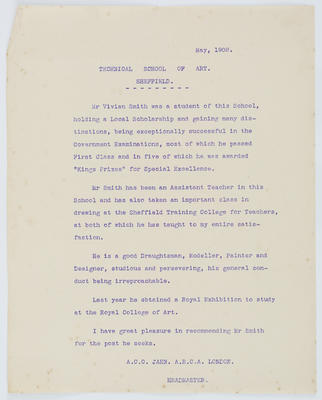 A C C Jahn; [Reference, Vivian Smith]; May 1908; A2015/4/62