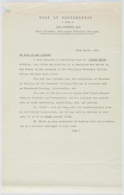 William Sanderson La Trobe; [Reference, Vivian Smith]; 11 Apr 1916; A2015/4/67