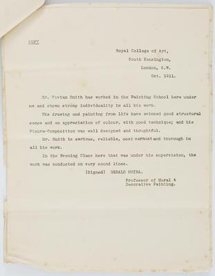 Gerald Moira; [Reference, Vivian Smith]; Oct 1911; A2015/4/75