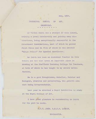 A C C Jahn; [Reference, Vivian Smith]; May 1908; A2015/4/77