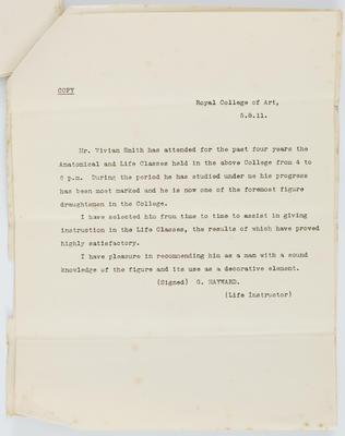 G Hayward; [Reference, Vivian Smith]; 05 Aug 1911; A2015/4/76