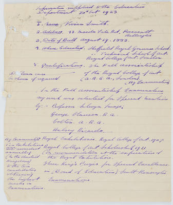 Vivian Smith; [Information Supplied to the Education Department]; 30 Oct 1923; A2015/4/78