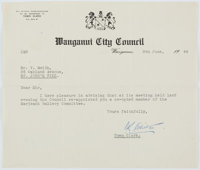 [Letter, Town Clerk to Vivian Smith]