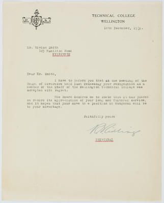 [Letter, R S Ridling to Vivian Smith]
