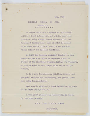 A C C Jahn; [Reference, Vivian Smith]; May 1908; A2015/4/90